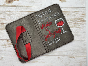 Drinking wine and judging applique notebook cover (2 sizes available) DIGITAL DOWNLOAD