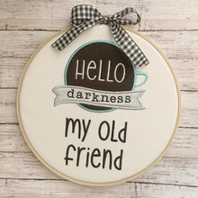 Load image into Gallery viewer, Hello Darkness my old friend applique embroidery design (4 sizes included) DIGITAL DOWNLOAD
