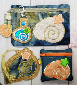 Shell Applique set (includes snap tab, charms, bookmark, 4x4 ITH Bag & 5x7 ITH Bag) DIGITAL DOWNLOAD