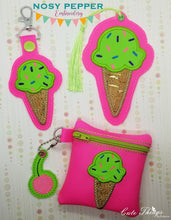 Load image into Gallery viewer, Ice Cream Applique Set (includes: snap tab, charms, bookmark, 4x4 & 5x7 ITH bags) DIGITAL DOWNLOAD