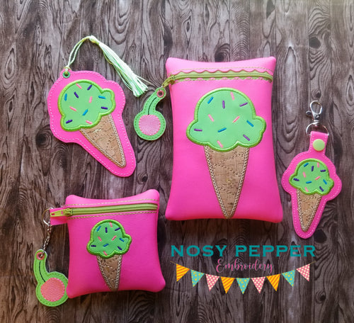 Ice Cream Applique Set (includes: snap tab, charms, bookmark, 4x4 & 5x7 ITH bags) DIGITAL DOWNLOAD
