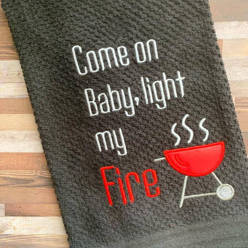 Come on Baby, light my fire applique embroidery design DIGITAL DOWNLOAD
