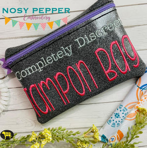 Completely discreet Tampon Bag ITH Bag (4 sizes available) DIGITAL DOWNLOAD
