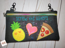Load image into Gallery viewer, Screw the Haters applique ITH Bag (3 sizes available) DIGITAL DOWNLOAD