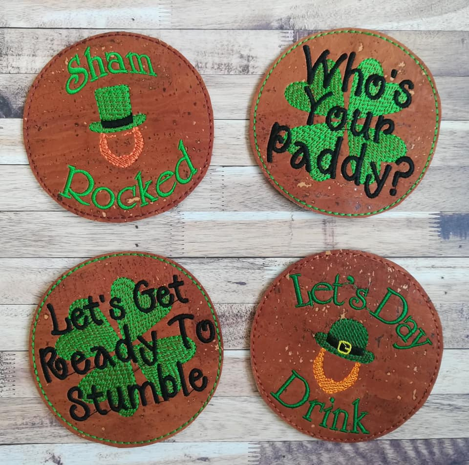 St Patty's Coaster Set 4x4