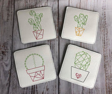Load image into Gallery viewer, Cactus Coaster set of 4 (4x4 Hoop)