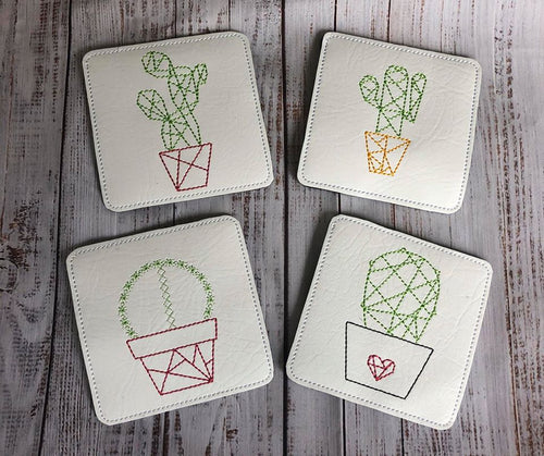 Cactus Coaster set of 4 (4x4 Hoop)