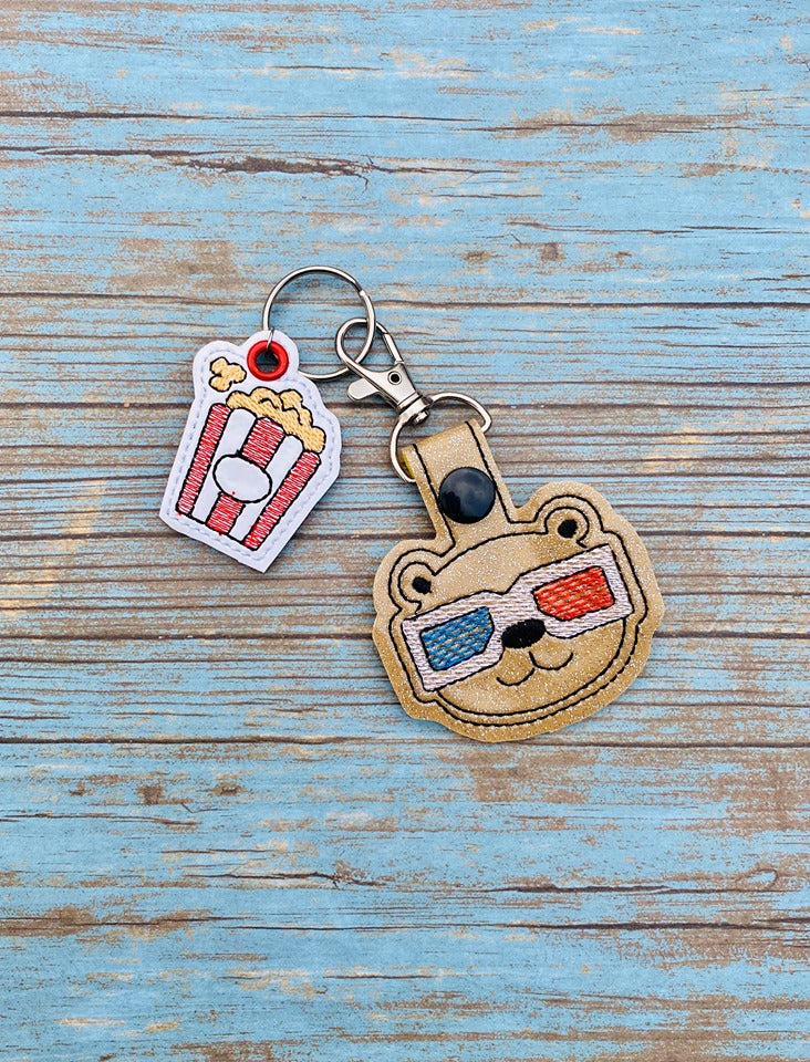 Movie Bear Snap tab and Charm set 4x4