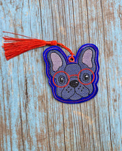 Load image into Gallery viewer, Frenchie in glasses Book mark 4x4 two versions included