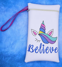 Load image into Gallery viewer, Unicorn Believe in the hoop bag DIGITAL DOWNLOAD 5 sizes available