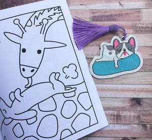 Frenchie Float Bookmark 4x4 DIGITAL DOWNLOAD