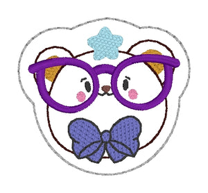 Glasses Bear feltie (single & multi included) DIGITAL DOWNLOAD