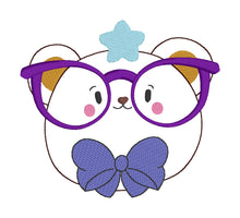 Load image into Gallery viewer, Glasses Bear Embroidery design (5 sizes included) DIGITAL DOWNLOAD
