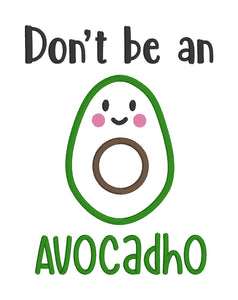 AvocadHo Applique Embroidery design (5 sizes included) DIGITAL DOWNLOAD