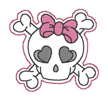 Load image into Gallery viewer, Bow Skull feltie (single & multi included) DIGITAL DOWNLOAD