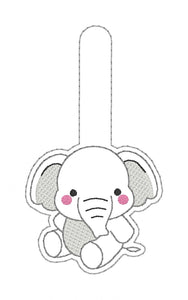 Cute Elephant snap tab embroidery design (includes single and multi file) DIGITAL DOWNLOAD