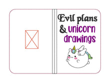 Load image into Gallery viewer, Evil plans & Unicorn drawings Notebook Cover (2 sizes available) DIGITAL DOWNLOAD