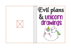 Evil plans & Unicorn drawings Notebook Cover (2 sizes available) DIGITAL DOWNLOAD