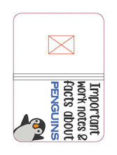 Load image into Gallery viewer, Facts about penguins notebook cover (2 sizes available) DIGITAL DOWNLOAD