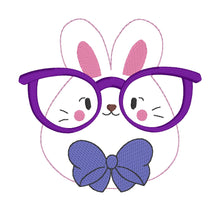 Load image into Gallery viewer, Glasses Bunny Embroidery design (5 sizes included) DIGITAL DOWNLOAD