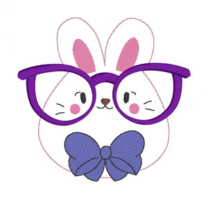 Glasses Bunny Embroidery design (5 sizes included) DIGITAL DOWNLOAD