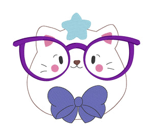 Glasses Kitty Embroidery design (5 sizes included) DIGITAL DOWNLOAD
