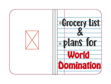 Load image into Gallery viewer, Grocery List and World Domination notebook cover (2 sizes available) DIGITAL DOWNLOAD
