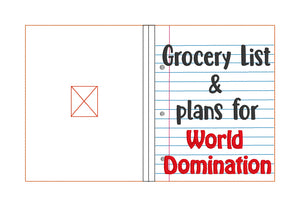 Grocery List and World Domination notebook cover (2 sizes available) DIGITAL DOWNLOAD