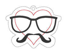 Load image into Gallery viewer, Heart mustache bookmark DIGITAL DOWNLOAD
