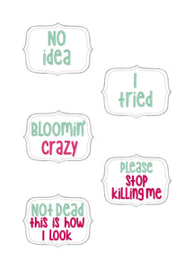 Plant Marker Set D set of 5 designs DIGITAL DOWNLOAD
