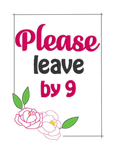 Please leave by 9 embroidery design (5 sizes included) DIGITAL DOWNLOAD