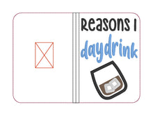 Load image into Gallery viewer, Reasons I day drink applique notebook cover (2 sizes available) DIGITAL DOWNLOAD