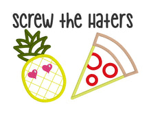 Load image into Gallery viewer, Screw the Haters applique embroidery design (4 sizes included) DIGITAL DOWNLOAD
