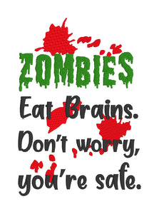 Zombies eat Brains embroidery design (5 sizes included) DIGITAL DOWNLOAD