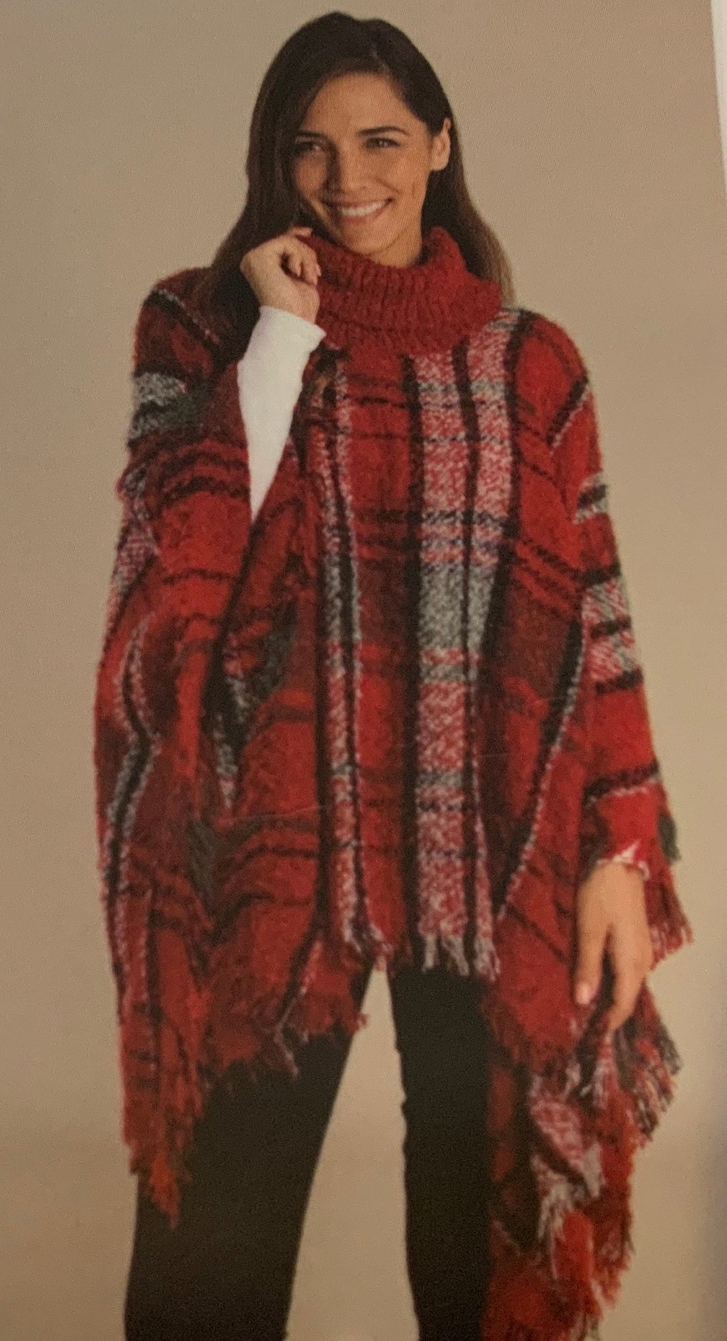 Simply Noelle- Holiday Plaid Poncho