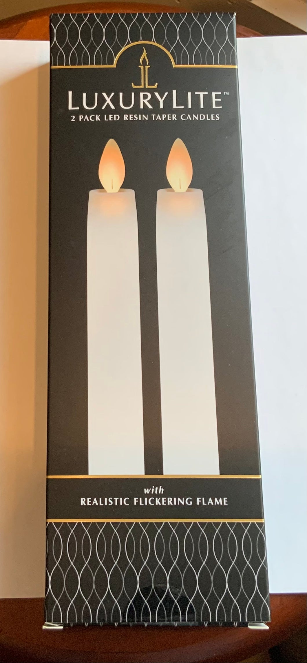 Luxury Lite 2 Pack LED Resin Taper Candles 8.5""