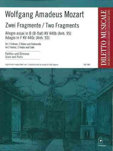 Wolfgang Amadeus Mozart: Two Fragments for String Quintet - Score & Parts