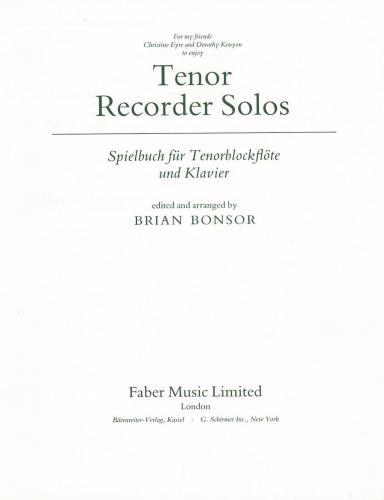 Bonsor: Tenor Recorder Solos (part only)