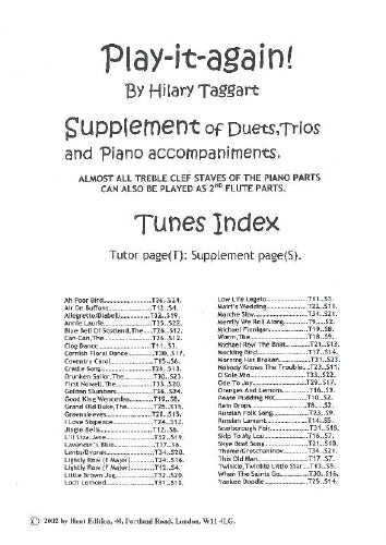 Play it again! Supplement of Duets/Trios/PianoAcmp (Flute Tutor)