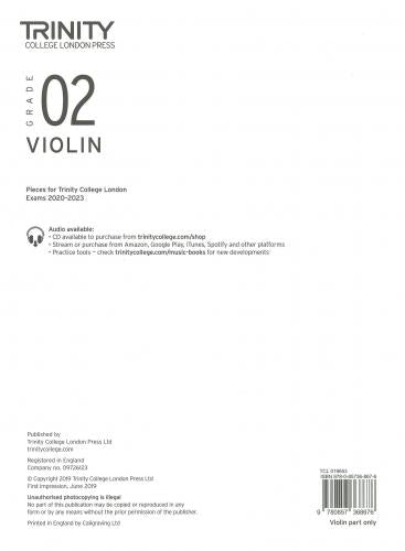 Trinity College Grade 2 Violin 2020-2023 - Part Only