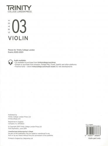 Trinity College Grade 3 Violin 2020-2023 - Part Only