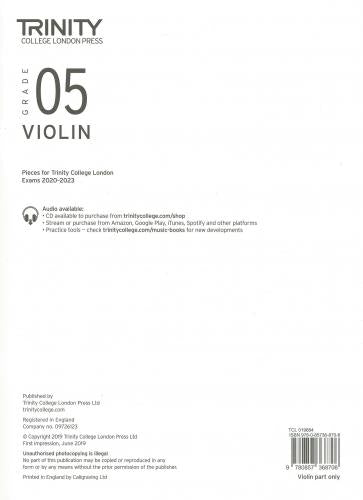 Trinity College Grade 5 Violin 2020-2023 - Part Only