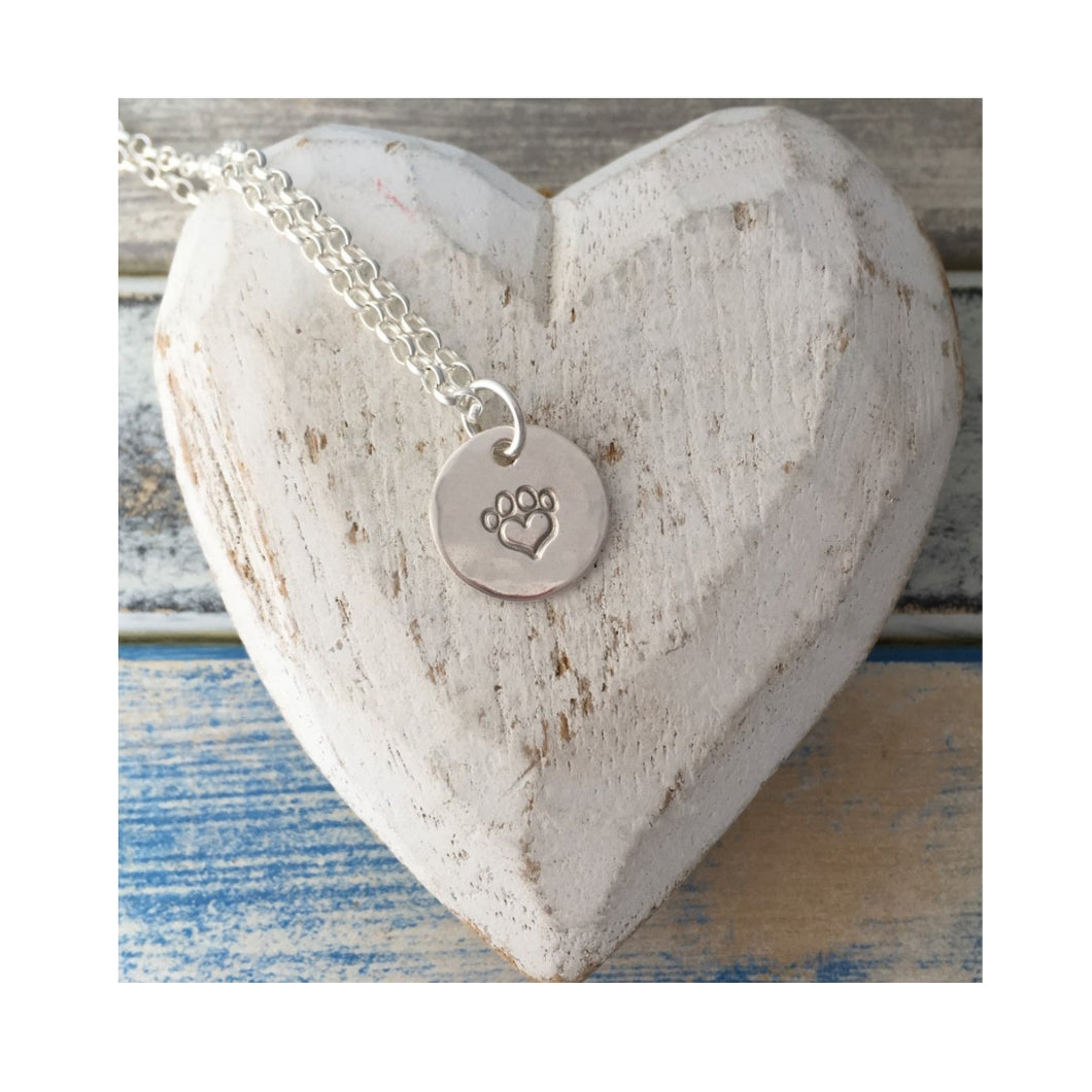 Pawprints on my Heart sterling silver pendant