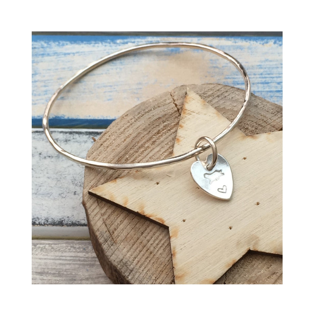 Running Beardie sterling silver loveheart charm bangle