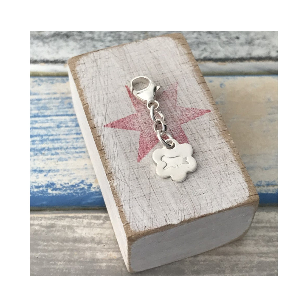 Running Beardie sterling silver clip on charm