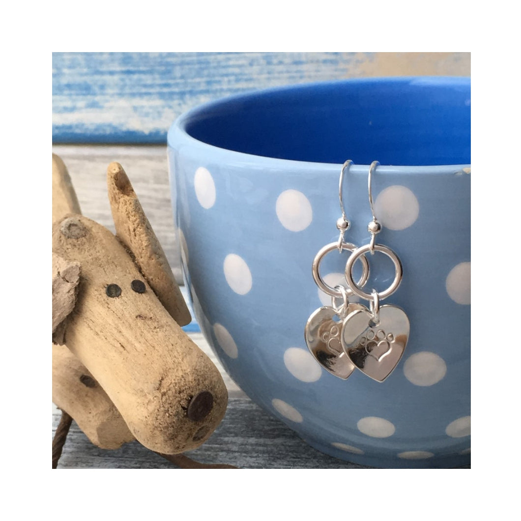 Pawprint Loveheart Drop Earrings