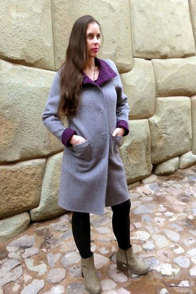 Alpaca Coat: Plum - Silver (Reversible) with Belt - Homunculus