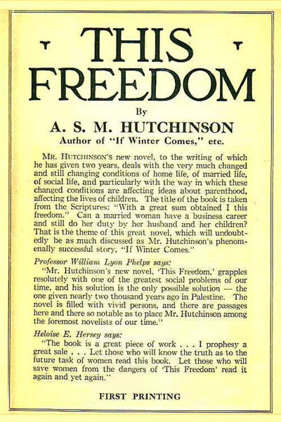 """This Freedom"" by A. S. M. Hutchinson (Nook / ePub Edition) - Preview Available - Homunculus"