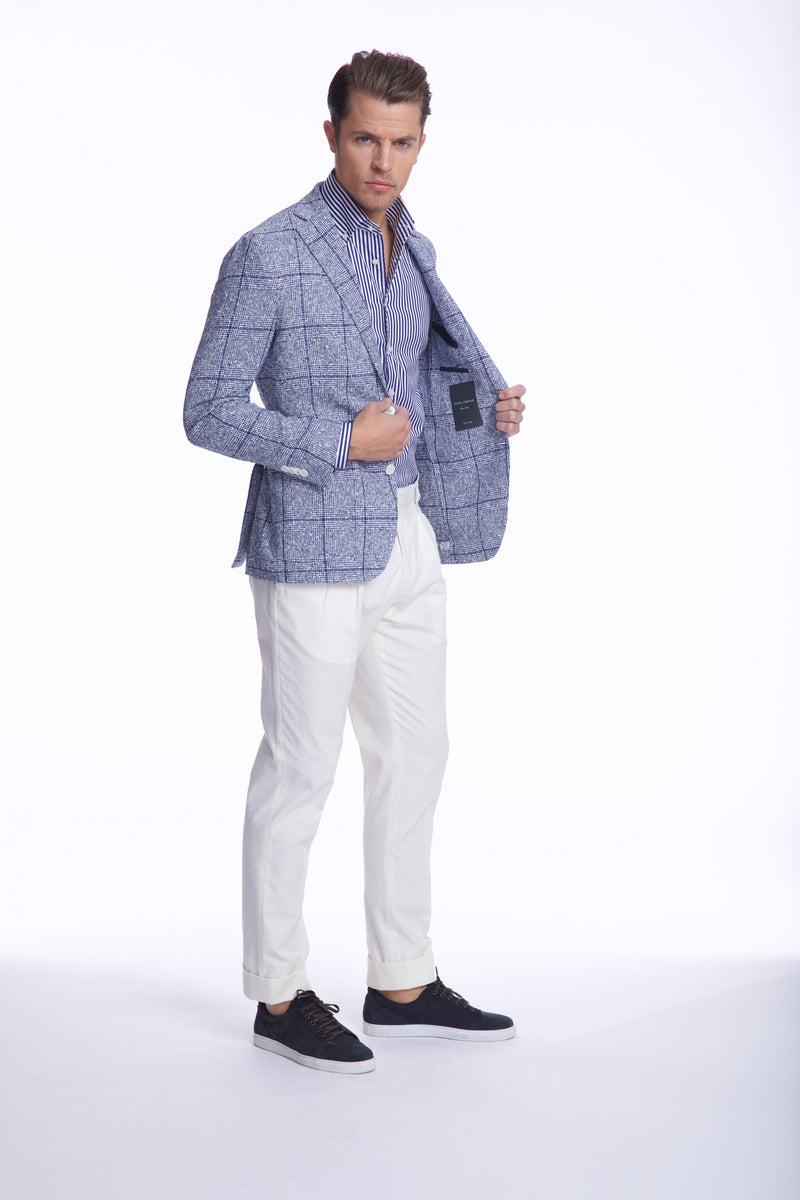 FREETIME LINEN BLEND BLUE WHITE PLAID BLAZER