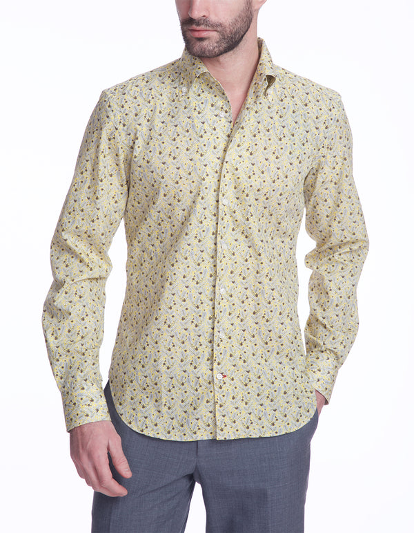 DOM FLOWER POPLIN ONE PIECE BUTTON DOWN COLLAR SHIRT